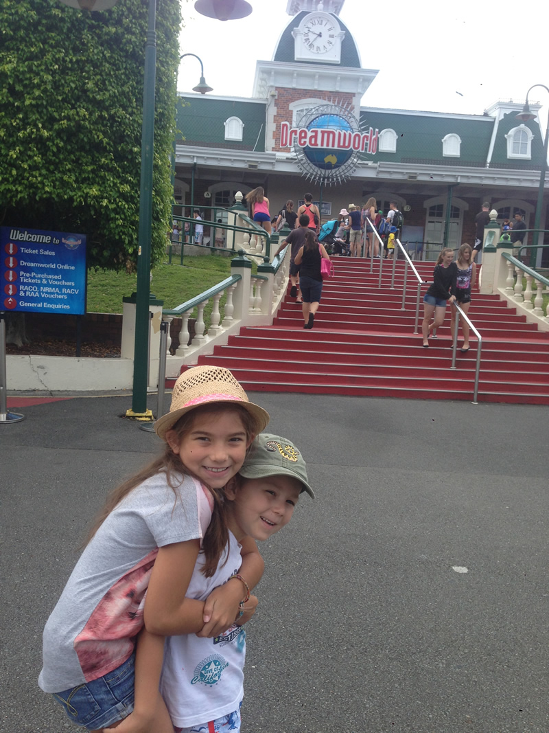 Excitement at the entrance to Dreamworld